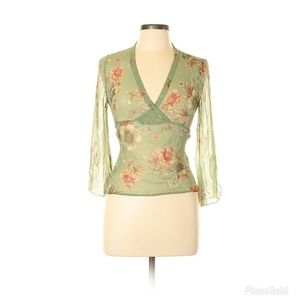 ⚡ Allison Taylor Sheer Floral Silk Blouse Medium
